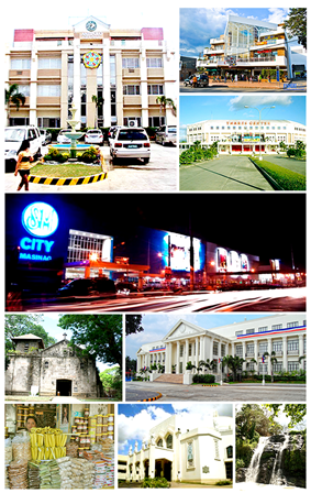 Clockwise from top left: Antipolo City Hall, Victory Park & Shop, Ynares Center Stadium, SM City Masinag, Rizal Provincial Capitol, Hinulugang Taktak Falls, Antipolo Cathedral, Native Delicacies including Suman; the city's glutinous pride, and Boso-Boso Church.