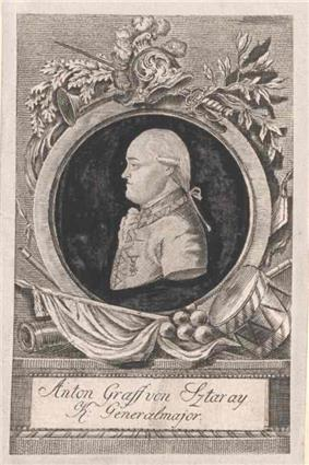 Sepia-toned print shows a man with a bulldog profile. He wears a late 18th century wig and a white military uniform.