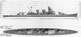 Black and white drawing of a World War II-era warship