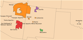 Map showing locations of Navajo and Apache reservations in Arizona and New Mexico