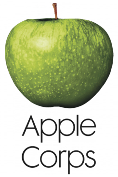 Apple Corps' logo, featuring a Granny Smith apple.