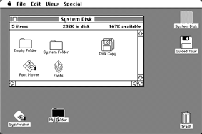 A screenshot of the original Mac OS. See caption.