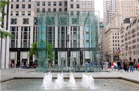 Entrance to Apple's subterranean flagship store on Fifth Avenue in Manhattan