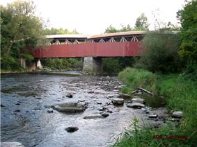 View of the Powerscourt Covered Bridge and the Chateauguay River