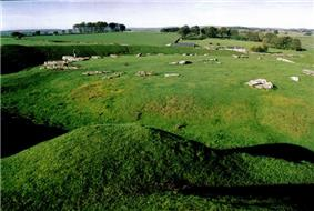 grassy area with a raised circular area with stones lying in a roughly circular pattern
