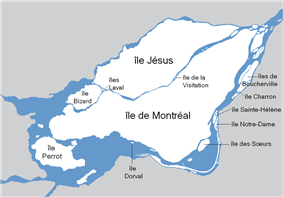 Montreal is on a boomerang-shaped island surrounded by three major rivers. To the northwest, lies another eye-shaped island, which is the site of Laval. The northern ring contains those mainland areas past Laval. To the east, south, and southwest on the mainland, is the southern ring.