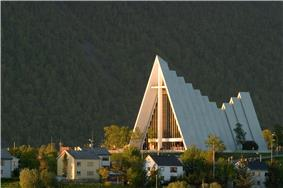 Arctic Cathedral illuminated by the midnight sun