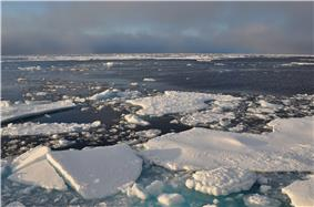 Photograph of ice in the Arctic Ocean.