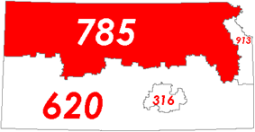 Map of Kansas with area code 785 in Red