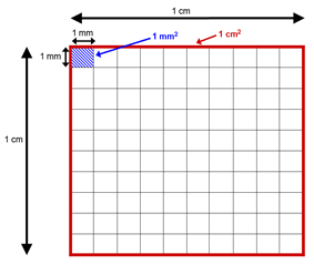 A diagram showing the conversion factor between different areas