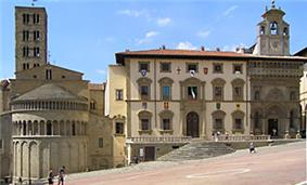 Piazza Grande; from left - S. Maria della Pieve, the old Tribunal Palace and the Lay Fraternity.