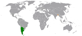 Map indicating locations of  Argentina  and  Bangladesh
