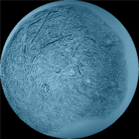 a patch of observed surface is lit in light blue, against a blank disc representing the moon's entire diameter