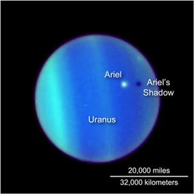 the planet Uranus is seen through the Hubble telescope, its atmosphere defined by bands of electric blue and green. Ariel appears as a white dot floating above it, casting a dark shadow below