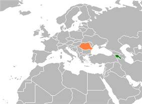 Map indicating locations of Armenia and Romania