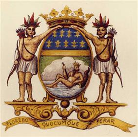 The French East India Company's coat of arms, with its moto :