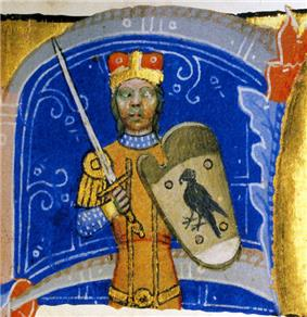 An armed men, wearing a crown, a sword, and a shield depicting a bird of prey