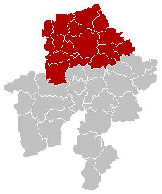 Location of the arrondissement in Namur