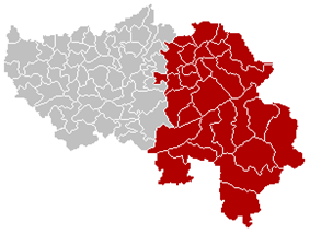 Location of the arrondissement in Liège