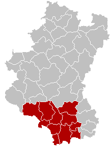 Location of the arrondissement in Luxembourg