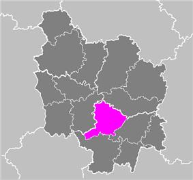 Location of Autun in Burgundy