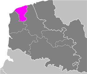 Location of Calais in Nord-Pas-de-Calais