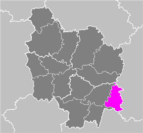 Location of Louhans in Burgundy