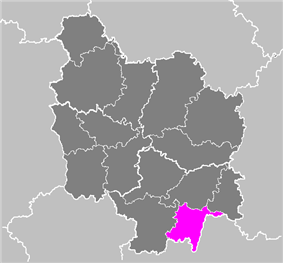 Location of Mâcon in Burgundy