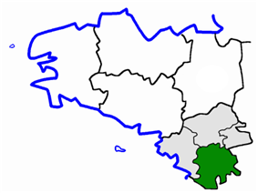 Location of the arrondissement of Nantes in Brittany
