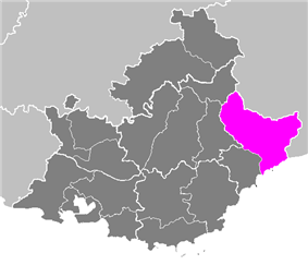 Location of Nice in Provence-Alpes-Côte d'Azur