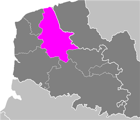 Location of Saint-Omer in Nord-Pas-de-Calais
