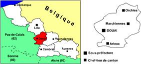 Location of Douai in Nord-Pas-de-Calais