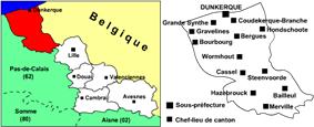 Location of Dunkirk in Nord-Pas-de-Calais