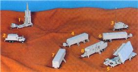 Image of Arrow missile battery notional model, including: 1. Single Arrow launcher (6 canisters). 2.