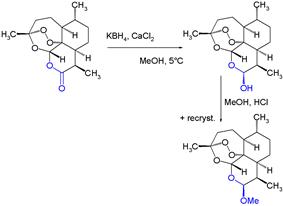 Artemether semisynthesis from artemisinin