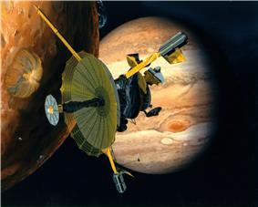 A painting of a spacecraft with fully extended, umbrella-like radio antenna dish, in front of an orange planetary body at left with several, blue, umbrella-like clouds, with Jupiter in back ground on the right, with its Great Red Spot visible