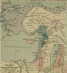 Hand colored map of the Near East. At the top is the Byzantine Empire which encircles the Seljuq Turks on three sides, north, west, and south. Below those two groups are the Kingdom of Armenia on the west and the County of Edessa on the east. Stretching along the coast below them are the Principality of Antioch, the County of Tripoli and the Kingdom of Jerusalem. To the east of the coast is Emirate of Damascus and the Dominion of the Atabeks. At the bottom of the map is the Caliphate of Cairo.