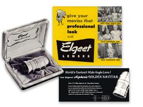 The Elgeet Golden Navitar 16mm Aspheric Wide Angle Lens shot and Advertisement from the 1950s.