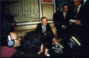 Angry man at a press conference