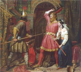 A painting with two men and a woman, in which one man pointing a spear against the other one who is holding a stooge, with the women is holding a sword