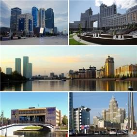 From top to bottom, left to right: Nur Zhol Boulevard; KazMunayGas Headquarters; Ishim River; L.N.Gumilyov Eurasian National University; Triumph of Astana