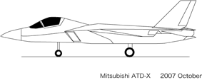 Line drawing of side view of jet fighter