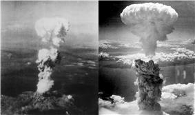 Two mushroom clouds rise vertically