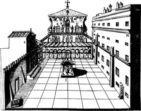 A drawing of the atrium of Old St. Peter's