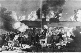 Illustration of a battle scene showing the inside of a fortification with soldiers and the back of two large cannons. The cannons are firing at a fortification across the water in the distance which is surrounded by smoke and fire.