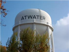 Water tower in the city