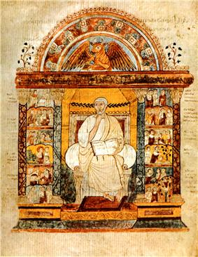 An illuminated manuscript illustration of a central seated figure holding an open book. He is flanked by two colonnades, which are filled with small scenes. Over the central figure is an arch with surmounts a winged bull.