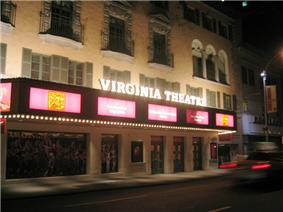 Photo of Virginia Theatre marquee in 2002 showing Flower Drum Song publicity materials