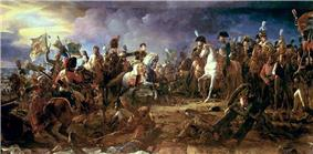 Colored painting showing Napoleon on a white horse and General Rapp galloping towards Napoleon to present the captured Austrian standards.