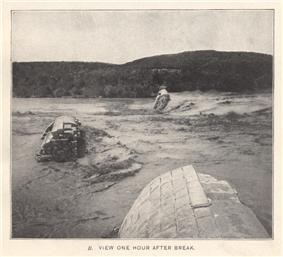 The Great Granite Dam in Austin Texas 1 hour after the break in 1900